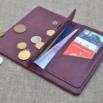 Кожаное портмоне для путешественника из натуральной кожи ручной работы K18-800