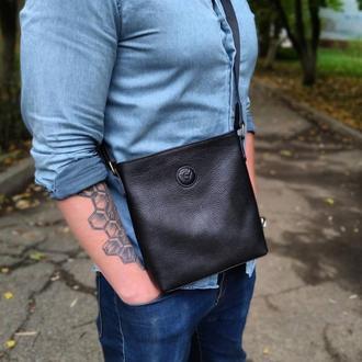 Сумка мужская черная, из натуральной кожи через плечо VS 0236