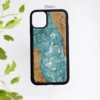 Деревянный чехол для iPhone 11 с эпоксидной смолой, Чехол река из эпоксидной смолы