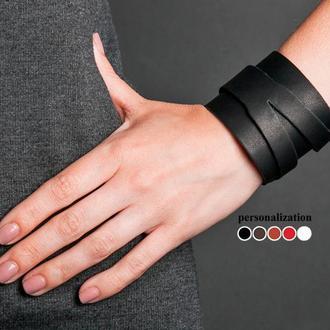 Напульсник - Черный широкий стильный Y кожаный браслет код 8040