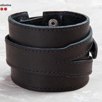 Напульсник - Черный широкий стильный прошитый кожаный браслет код 8040ст