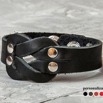 Кожаный браслет - черный узел код 3760
