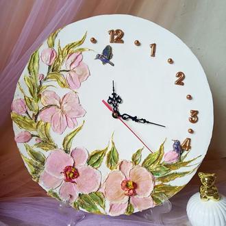 """Оригінальні настінні годинники """"рожева орхідея"""" кварцовий механізм"""