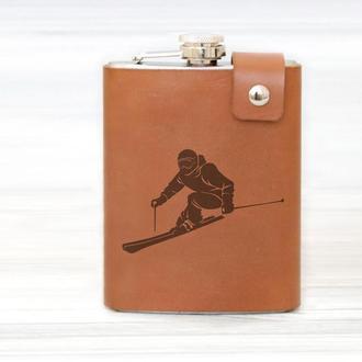 Оригинальная фляга с принтом лыжника, кожаный чехол, сталь, 240 мл, Brown