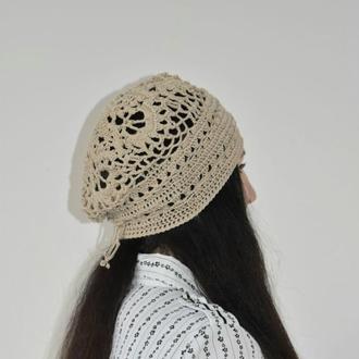 Шапка хлопковая, ажурная форма бини, цвета льна Легкая шапка на лето Стильные вязаные шапки
