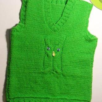Вязанный жилет с совушкой для ребенка 2-5 лет.