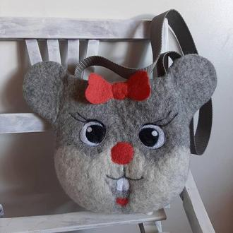 Сумка-мышка, сумочка из шерсти, валяная, детская сумочка