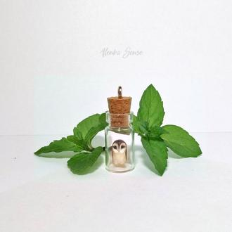 """Подвеска-бутылочка сова """"Лим"""" стеклянный кулон тотем талисман подарок авторское украшение на шею"""
