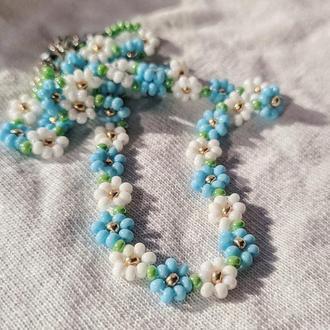 Чокер из бисера цветы//Ожерелье из бисера цветы