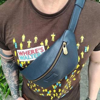 Мужская сумка на пояс , синяя, черная  Бананка из натуральной кожи VS 030