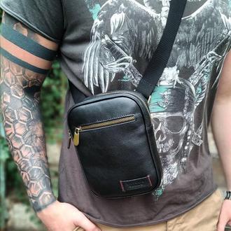 Сумка мужская черная, из натуральной кожи через плечо VS 03
