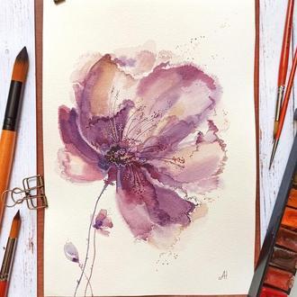 Цветок акварель