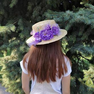 Шляпа соломенная Канотье с цветами