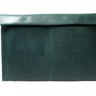 Кожаный чехол для Macbook на двух кнопках. 03009/зеленый