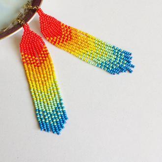 Бисерные серьги радуга, радужные серьги, разноцветные длинные серьги из бисера