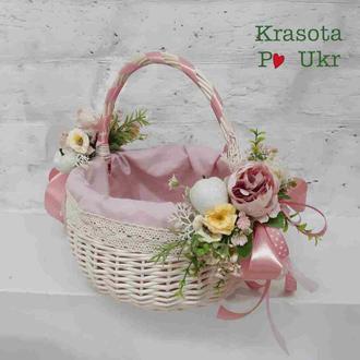 Дитячий кошик в рожевому декорі з чохлом чи без