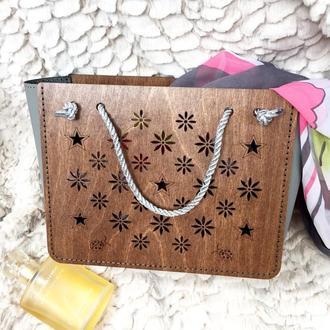 Оригинальная упаковка подарка. Сумка пакет. .Мини сумочка шоппер для девочки.