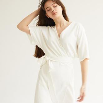 В наличии Мини-платье из льна молочное
