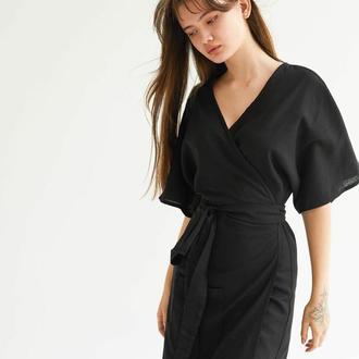 Мини-платье из льна молочное черное