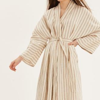 Довге плаття-кімоно в смужку з льону