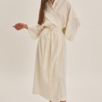 Довге молочне плаття-кімоно з льону