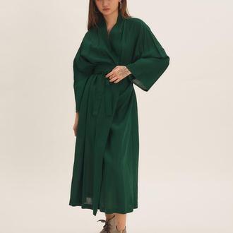 Зелене плаття-кімоно з льону
