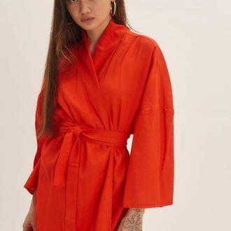 Красное платье-кимоно из льна