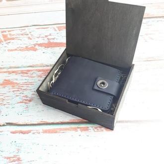 Портмоне кожаный  черный Classic, кошелёк кожаный зеленый