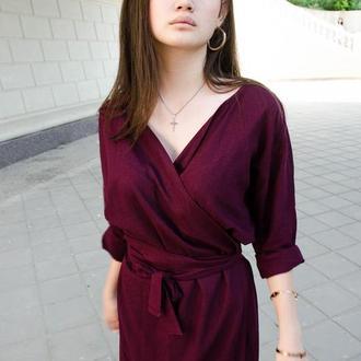 Бордовое платье миди из льна