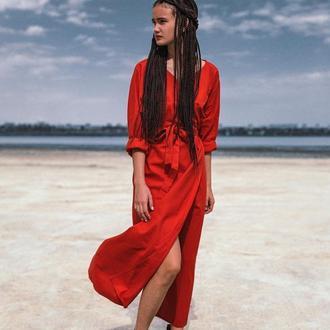 Красное длинное платье из льна
