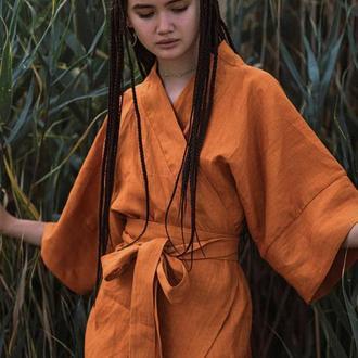 Медово-горчичное платье миди из льна