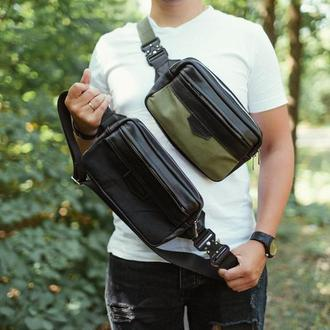 Мужская кожаная сумка (Бананка), поясная сумка из натуральной кожи, тактическая сумка