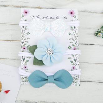 Подарочный набор повязок для девочки / Красивые голубые повязки для малышки / Подарунок дівчинці