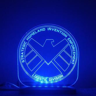 Ночник Светильник Agents of S. H. I. E. L. D. Marvel Агенты Щ.Ы.Т.