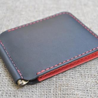 Кожаный черно-красный зажим для денег Z02-0+580+red