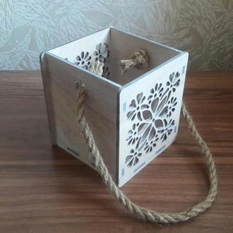 Подарочная коробка-кашпо для цветов