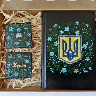 Подарочный набор блокнотов, Ежедневник на подарок, Набор блокнот и магнит, Блокнот ручной росписи