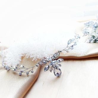 Эльфийская ветвь серебристо прозрачная - налобное украшение, веночек, ободок, диадема