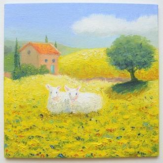 Овечки в полях Провансу, картина маслом з серії Прованс