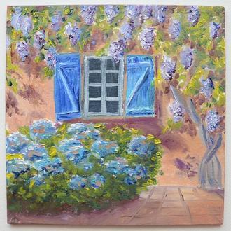 Дворик в Провансе, картина маслом из серии Прованс