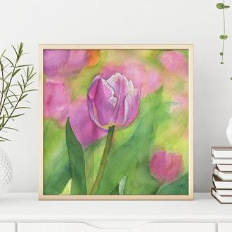 Акварельная картина Тюльпаны