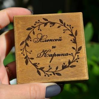 Деревянная шкатулка для колец, коробка, футляр на замочке с индивидуальной гравировкой,