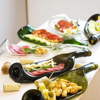 Тарелки из бутылок для красивой подачи еды и закусок Wine Olive креативный подарок