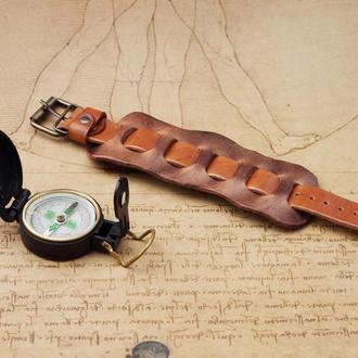 Бежево-коричневый браслет из натуральной кожи с персонализацией, Кожаный браслет для мужчин