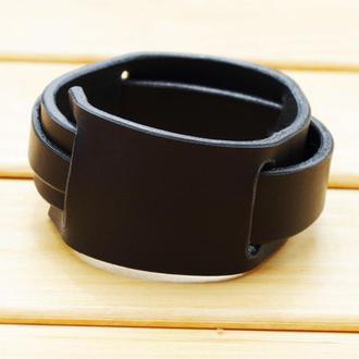 Черный кожаный персонализированный браслет универсального размера, женский кожаный браслет