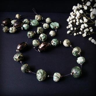 Длинные бохо бусы бирюзово-зеленые