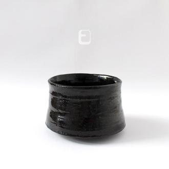 "Work no. 615W — черная чаша, пиала, тяван, чаван ""Cosmic Gloss"", teabowl in japanese style"