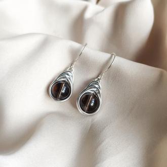 Серьги с дымчатым кварцем на серебряном крючке, Алюминиевая обмотка, Витые серьги капли