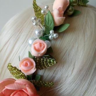 Обруч для волос с ранункулюсом и розами
