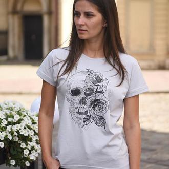 Футболка-туника женская «череп с розой» batiar